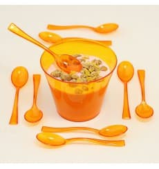 Plastic Spoon Premium Orange 16cm (10 Units)