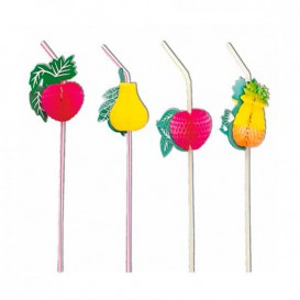 Plastic Straw Flexible PS Fruit Design Ø0,5cm 23cm (100 Units)