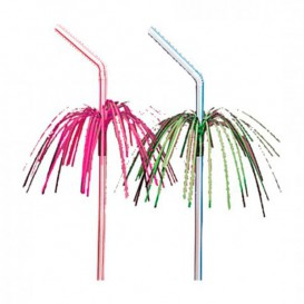Plastic Straw Flexible PS Palm Tree Design Ø0,5cm 23cm (100 Units)