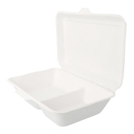 "Sugarcane Hinged Container ""Menu Box"" 2 Compartments White 22,5x16,5x6,4cm (500 Units)"