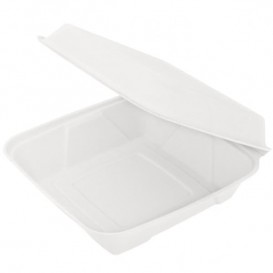 "Sugarcane Hinged Container ""Menu Box"" White 22,5x22,5x7,5cm (50 Units)"