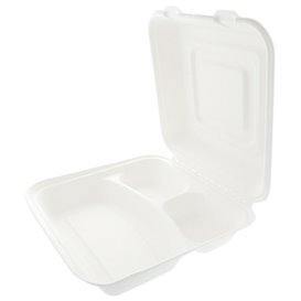 "Sugarcane Hinged Container ""Menu Box"" White 3 Compartments 25x25x7,5cm (250 Units)"