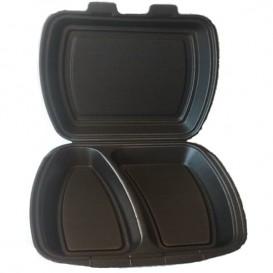 Foam Lunch Box 2 Compartments Black 2,40x2,10x0,70cm (250 Units)