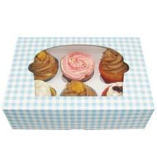 Paper Cupcake Box 6 Slots Blue 24,3x16,5x7,5cm (100 Units)
