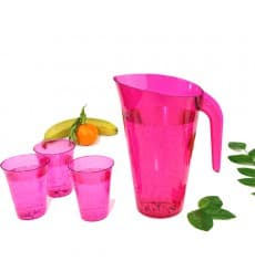 Plastic Jar PS Reusable Raspberry 1.500 ml (20 Units)