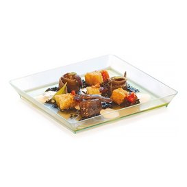 Plastic Tray PS Water Green 13x13cm (100 Units)