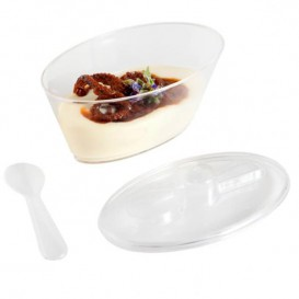 Plastic Bowl with Lid and Spoon PS Oval Shape 10,1x6,1x6cm (576 Units)