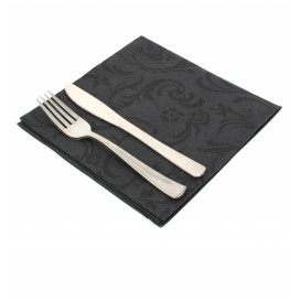 "Airlaid Napkins ""Damascato"" Black 40x40cm (50 Units)"