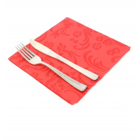 "Airlaid Napkins ""Damascato"" Red 40x40cm (50 Units)"
