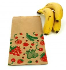 Paper Food Bag Fruit Design 14+7x28cm