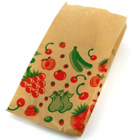 Paper Food Bag Fruit Design 14+7x28cm (100 Units)