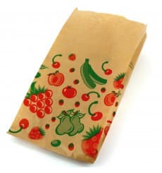 Paper Food Bag Fruit Design 14+7x28cm (100 Units)
