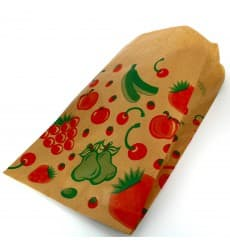 Paper Food Bag Fruit Design 18+10x28cm (1000 Units)