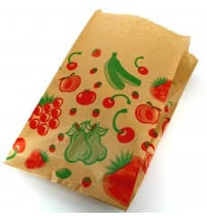 Paper Food Bag Fruit Design 22+12x36cm (100 Units)