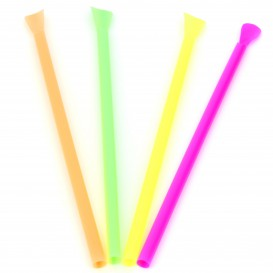 Plastic Straw Straight PS Spoon 4 colors Ø0,6cm 20cm (10000 Units)