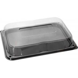 Plastic Tray with Lid Black 35x24 cm (25 Units)
