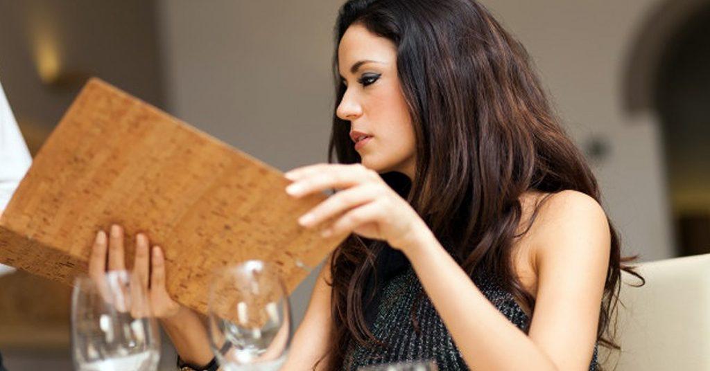 Menú o carta de un restaurante